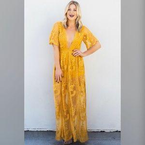 Chloe Grid Maxi lace dress